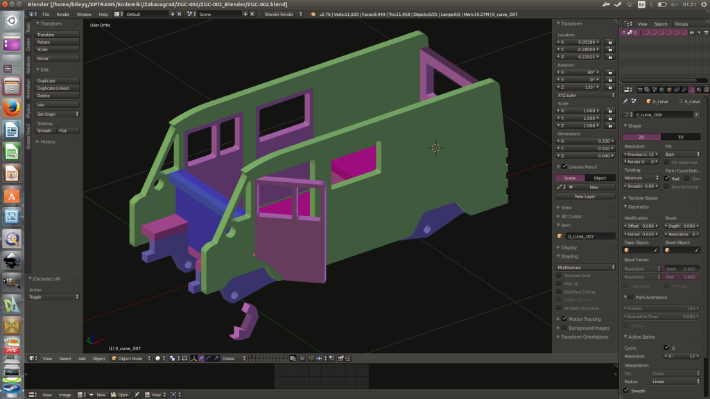 Preliminary stage of assemblage in Blender3d