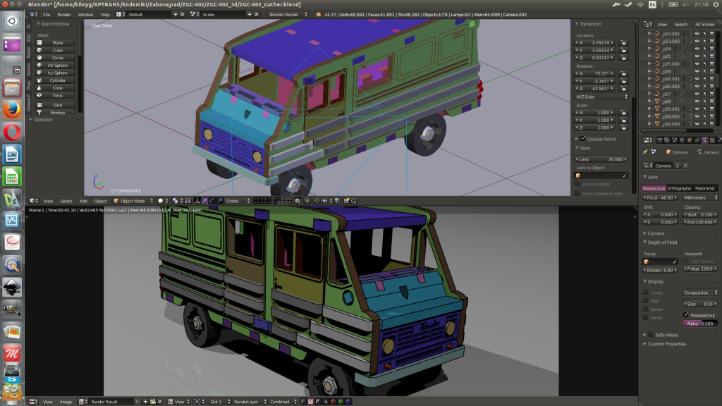 Blender3d screenshot. Final assemblage. And technical rendering.