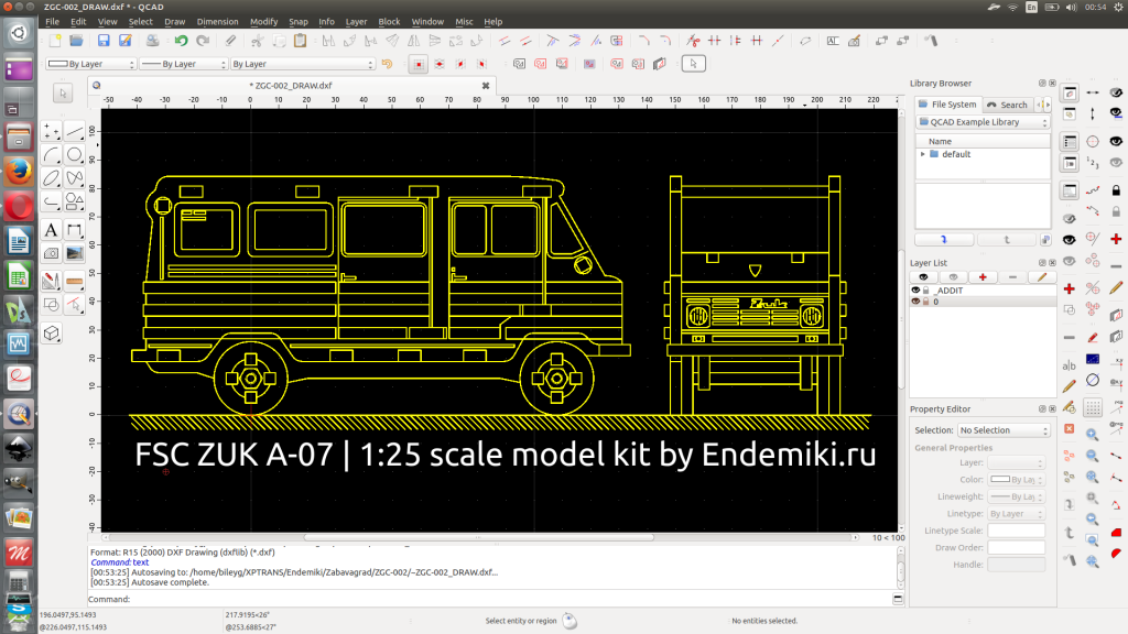 QCAD Screenshot. General drawing of a product.