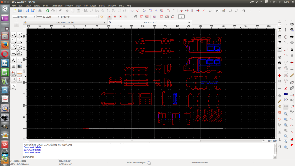 QCAD prepares dxf for CNC machine