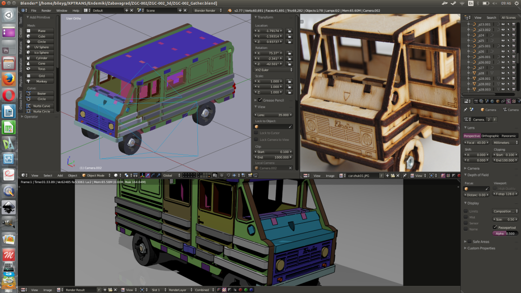Blender3d. Model assemblage & photo of real product.
